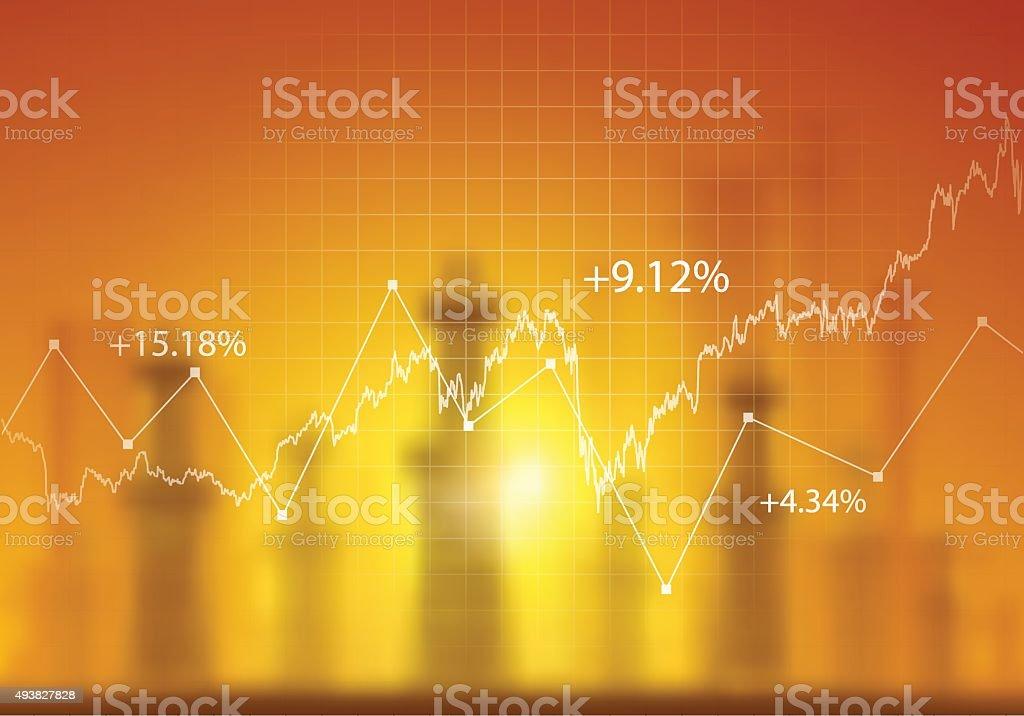 Oil platforms and financial data vector art illustration