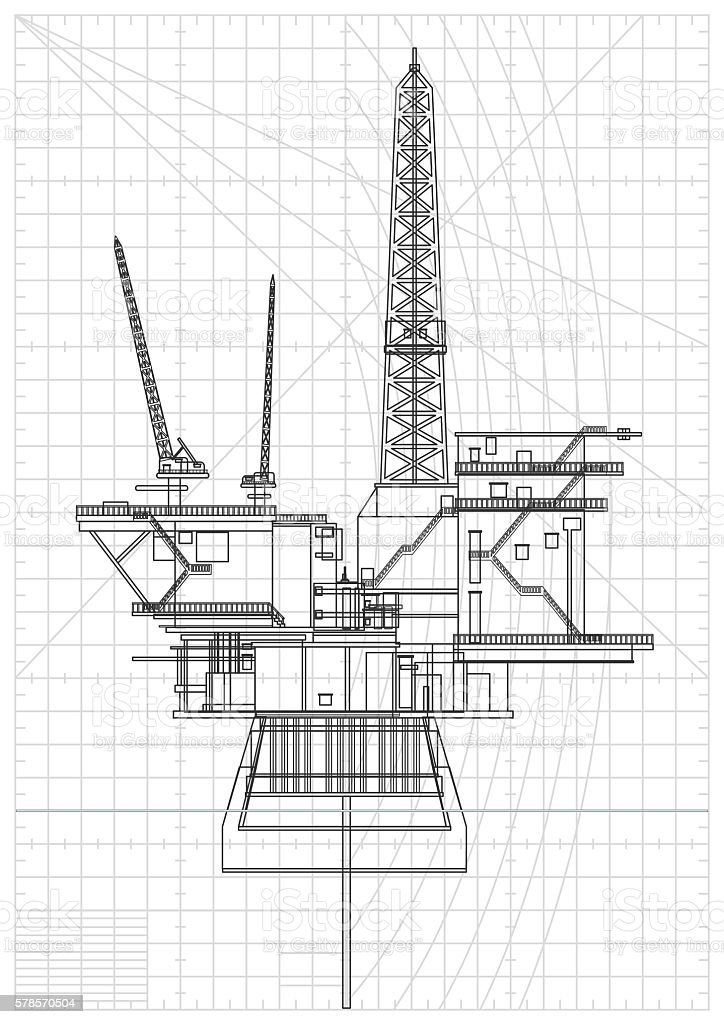 Oil Platforms Blueprint vector art illustration