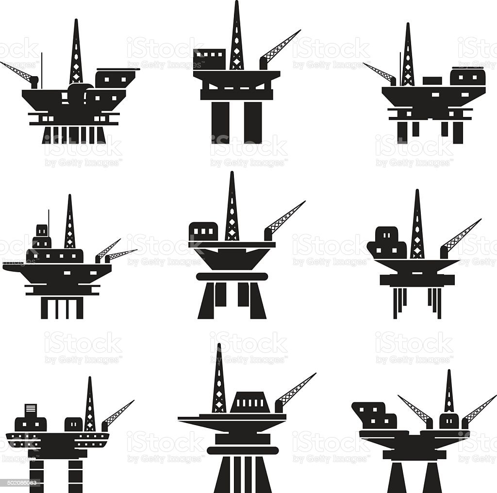 Oil platforms set vector art illustration