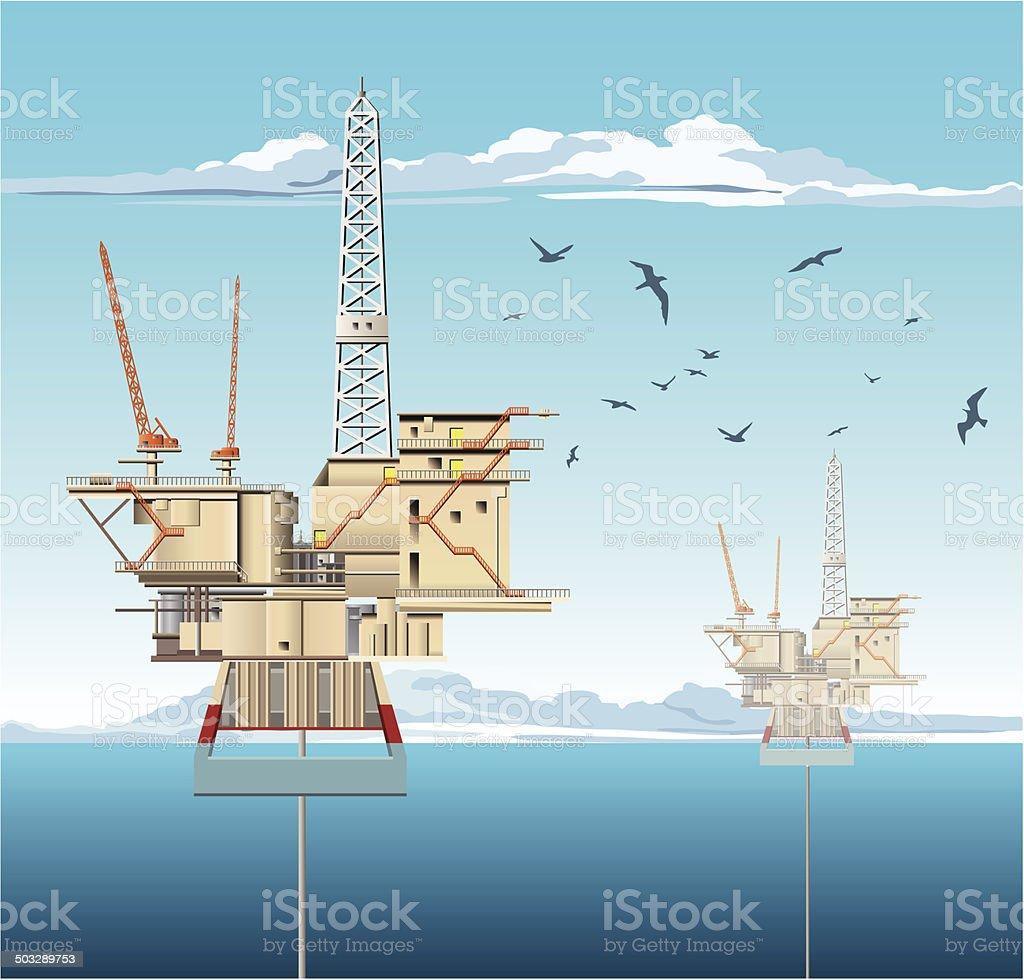 Oil Platforms vector art illustration