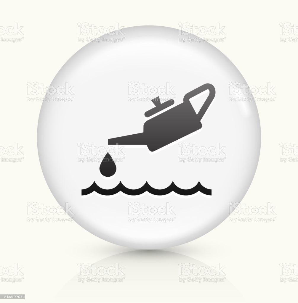 Oil Pollution icon on white round vector button vector art illustration