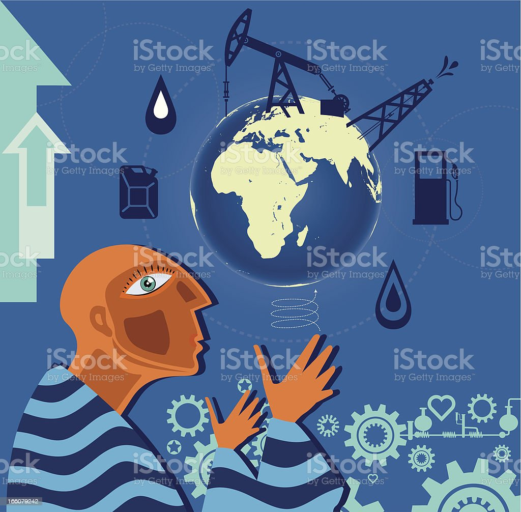 Oil Production and People royalty-free stock vector art