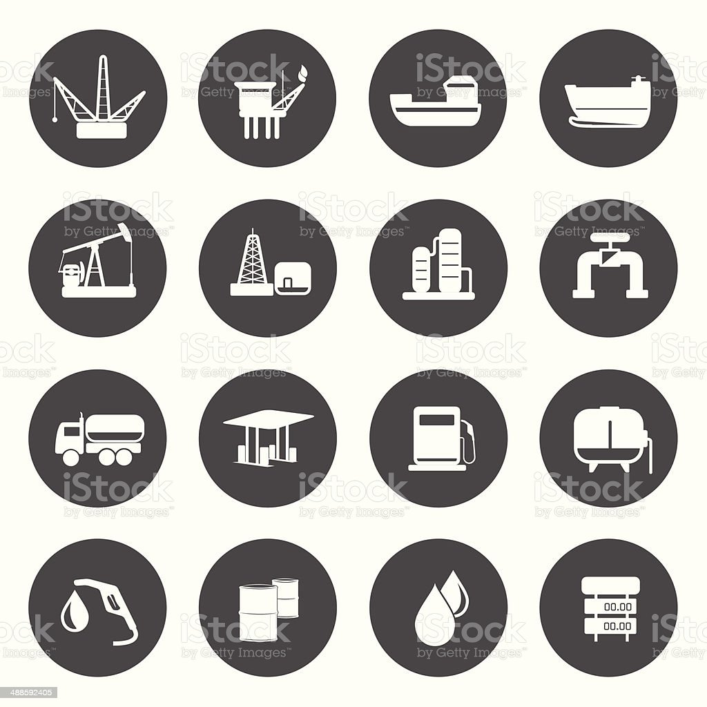 Oil Production Icons vector art illustration
