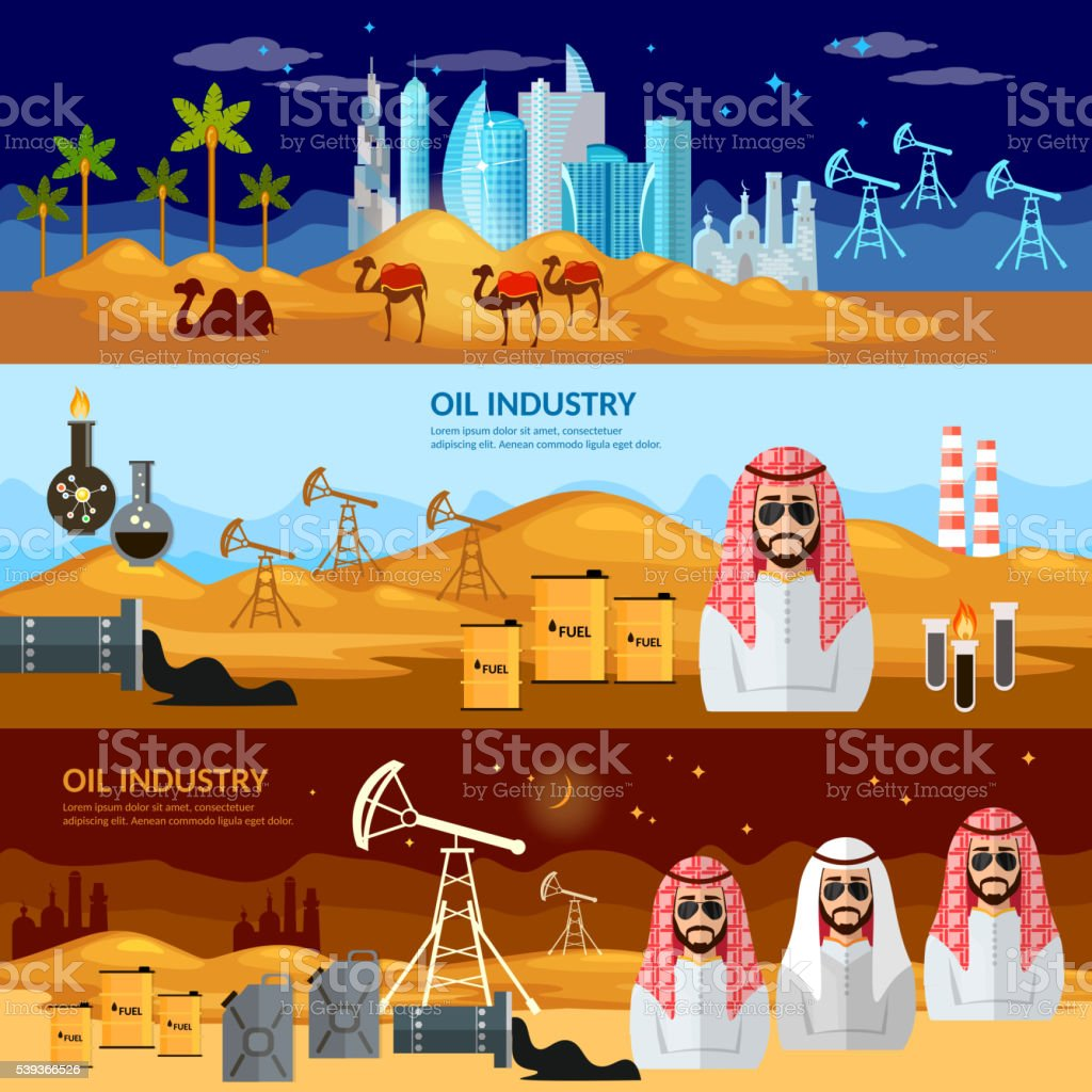 Oil production in the Arab countries banner vector art illustration