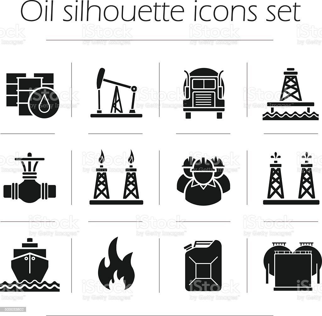 Oil production silhouette icons set vector art illustration
