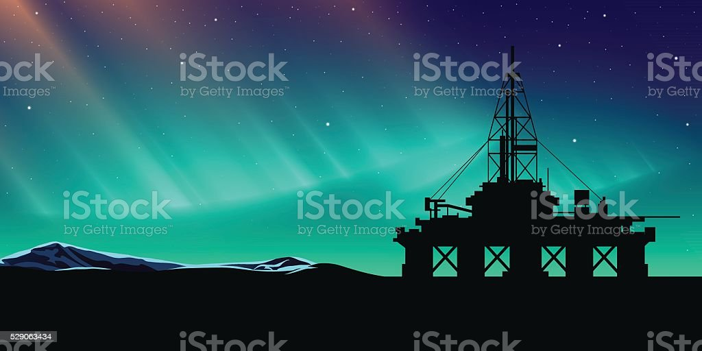 Oil production vector art illustration