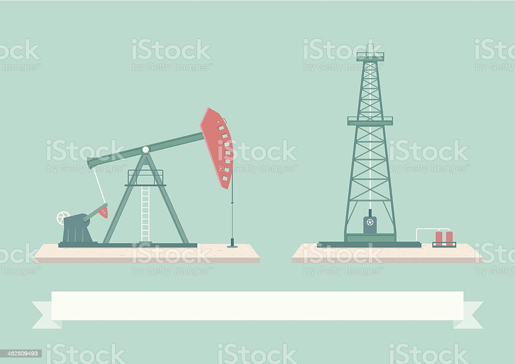 Oil Pump Design Elements vector art illustration