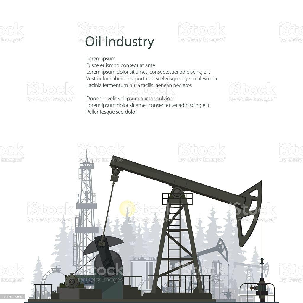Oil Pump Isolated on White Background vector art illustration