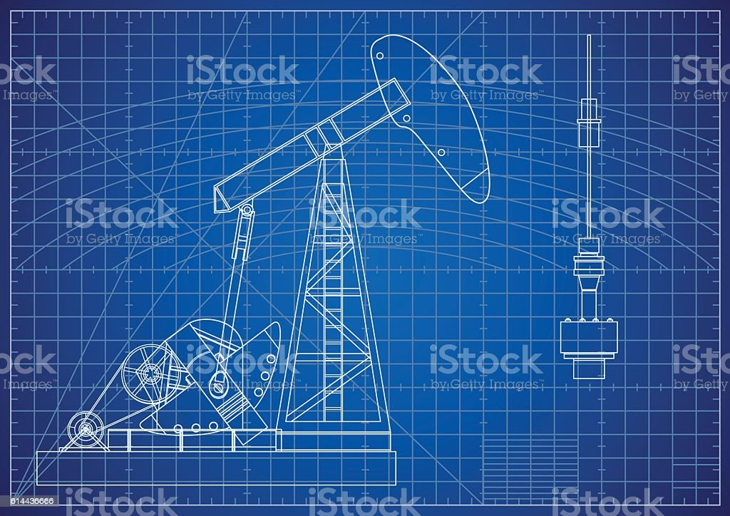 Oil Pump Jack Blueprint. Oil and Gas Production Facilities vector art illustration