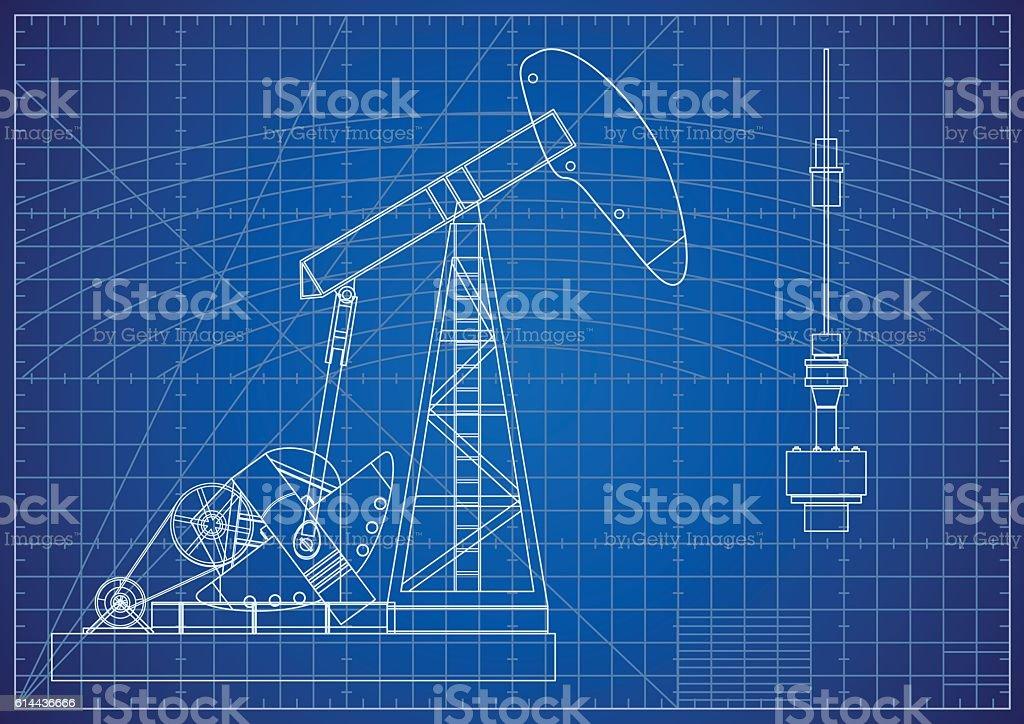 Oil Pump Jack Blueprint. Oil and Gas Production Facilities vector art illustration