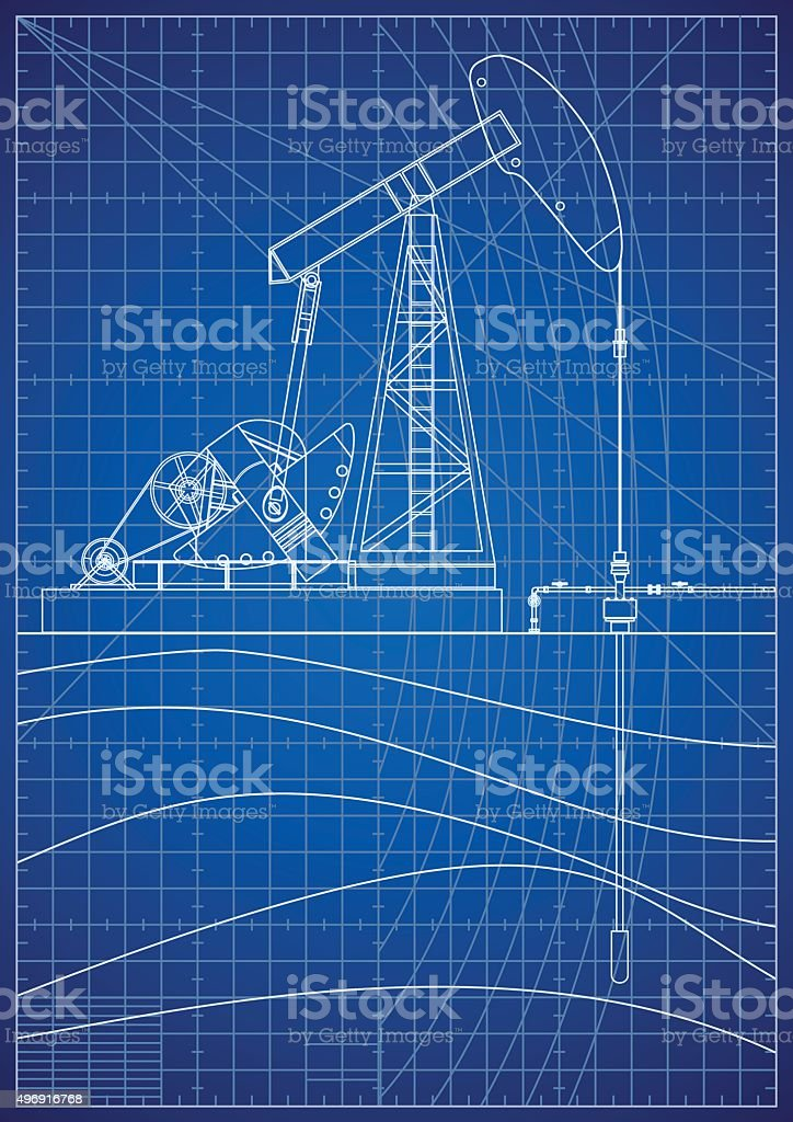 Oil Pump Jack Blueprint vector art illustration