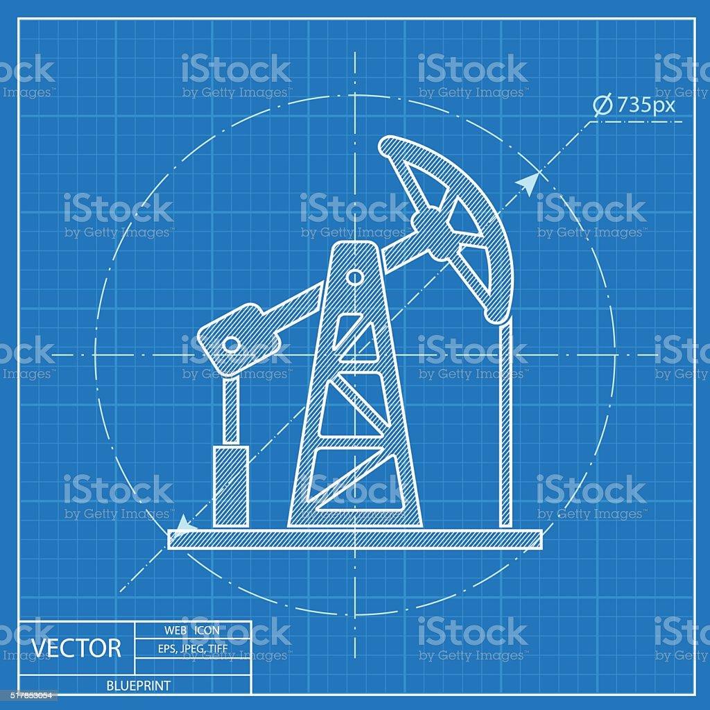 oil pump jack vector blueprint icon vector art illustration