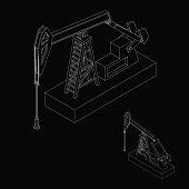 Oil pump jack. Vector outline illustration. Isometric view.