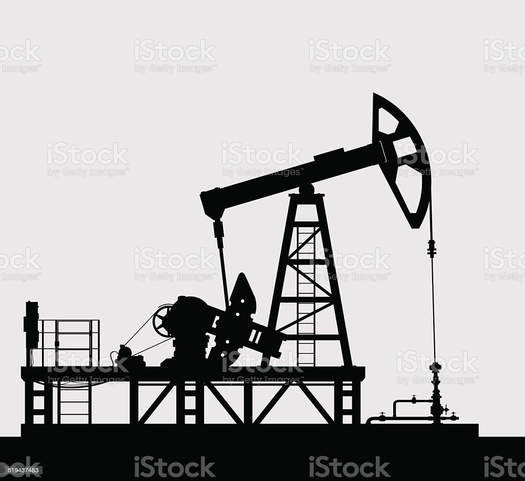 Oil pump silhouette over grey background. vector art illustration