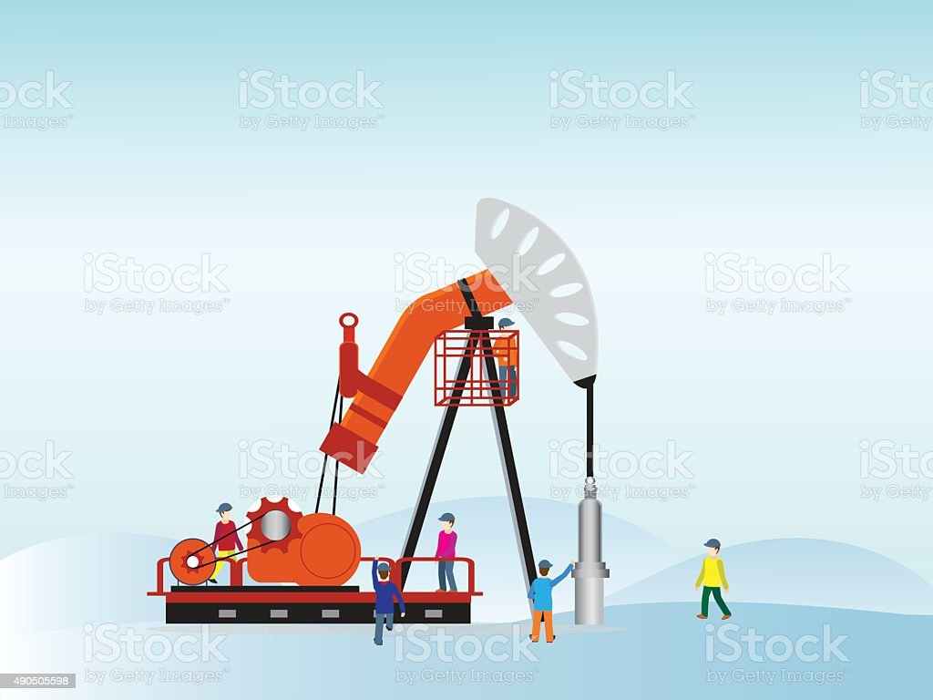 Oil pump with oil worker. vector art illustration