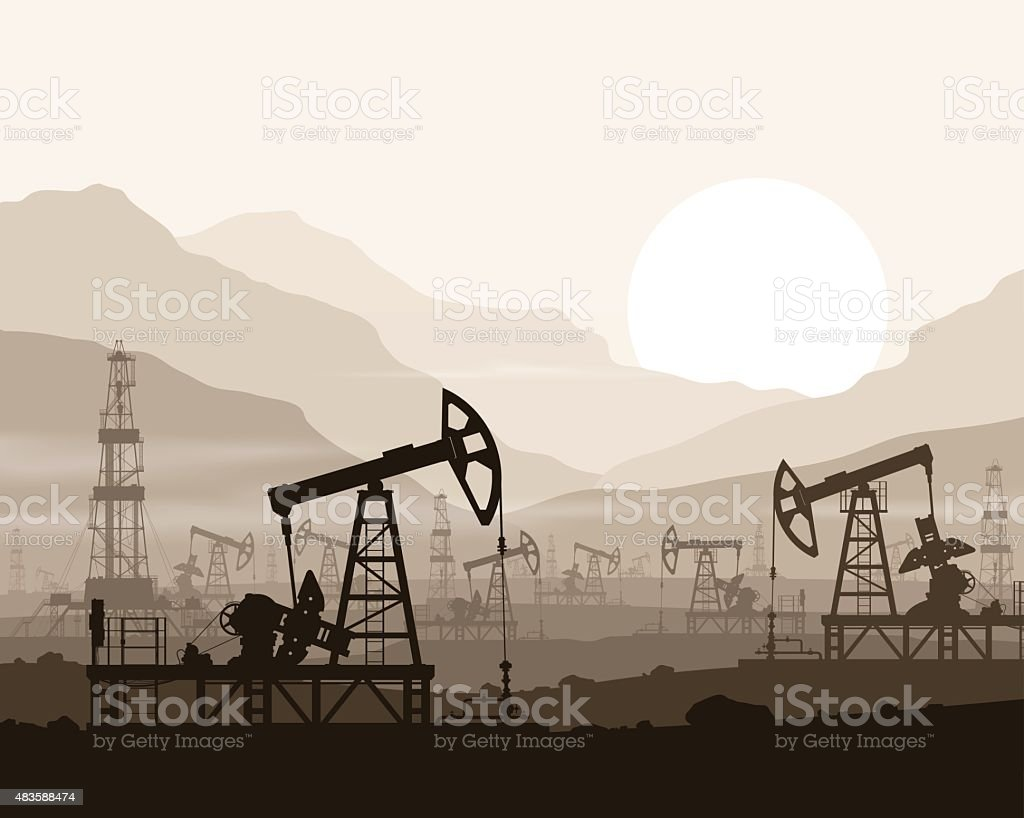 Oil pumps and rigs at oilfield over mountains. vector art illustration