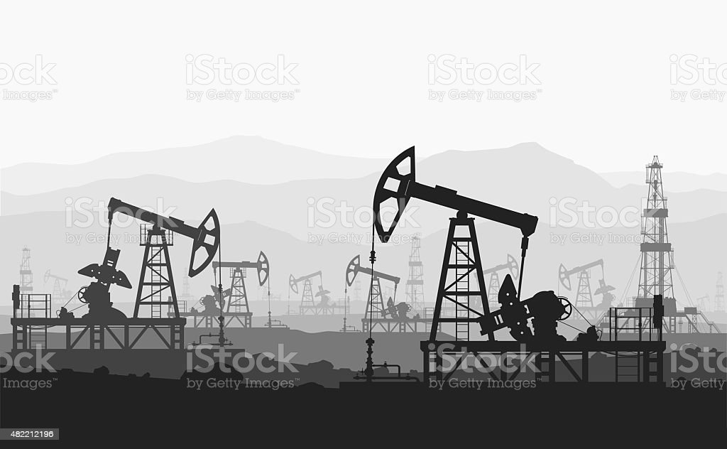 Oil pumps at large oilfield over mountain range. vector art illustration