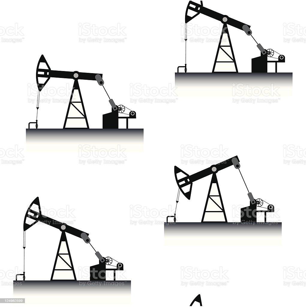 Oil pumps seamless vector wallpaper royalty-free stock vector art