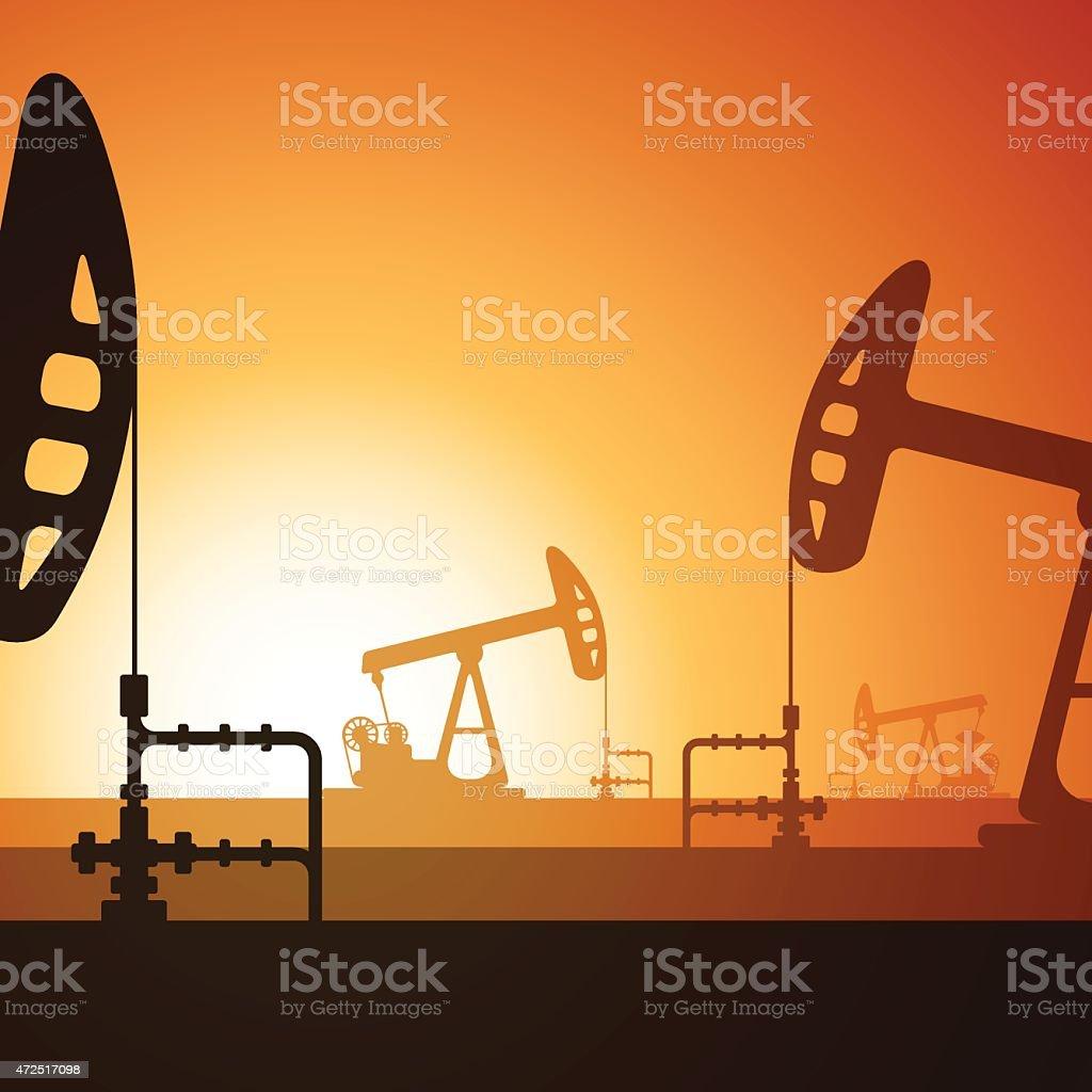 Oil pumps silhouette on sunset vector art illustration
