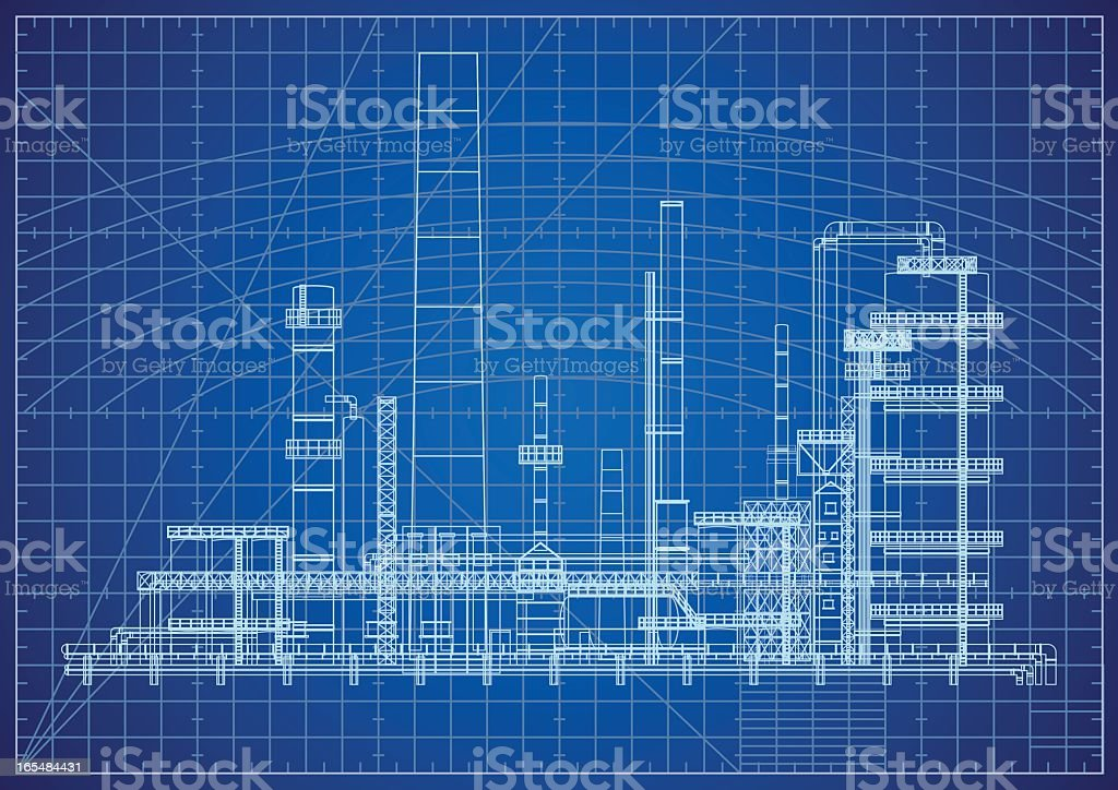 Oil Refinery Blueprint vector art illustration