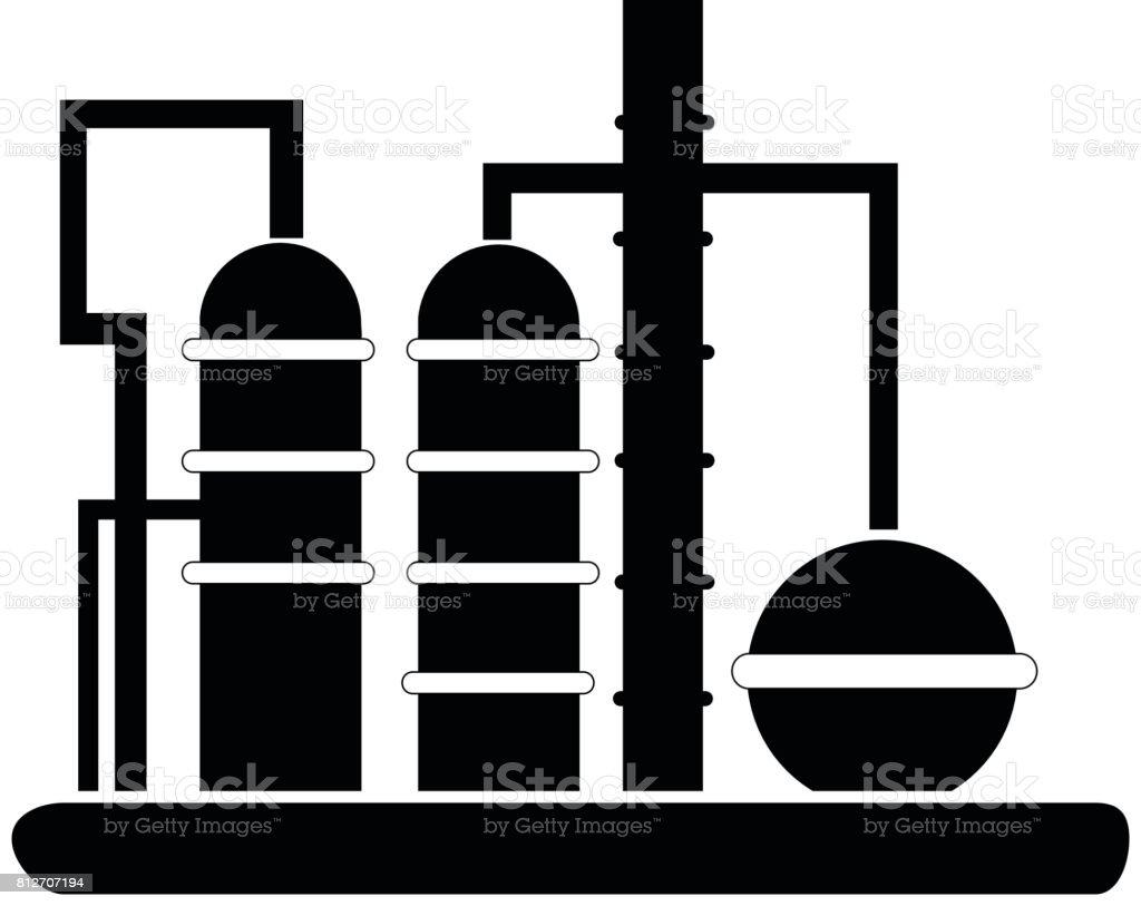 Oil Refinery Icon vector art illustration