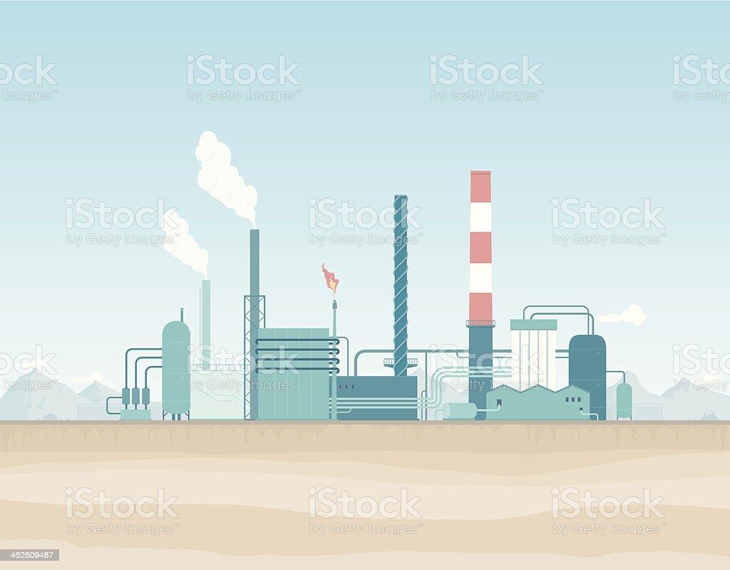 Oil Refinery in the Desert vector art illustration