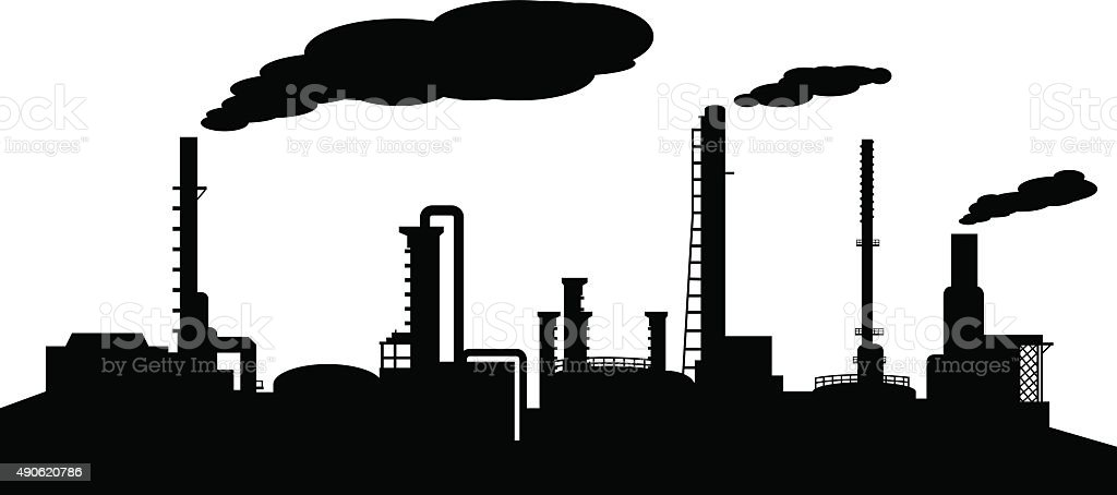 Oil refinery industry silhouette vector art illustration
