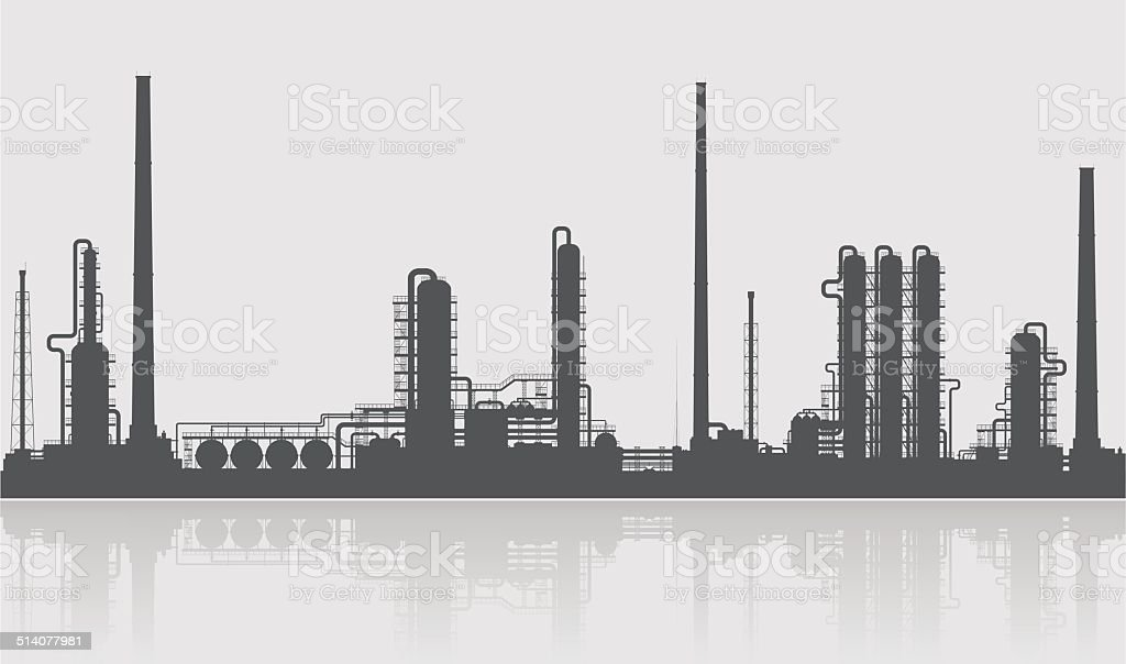 Oil refinery or chemical plant silhouette. vector art illustration