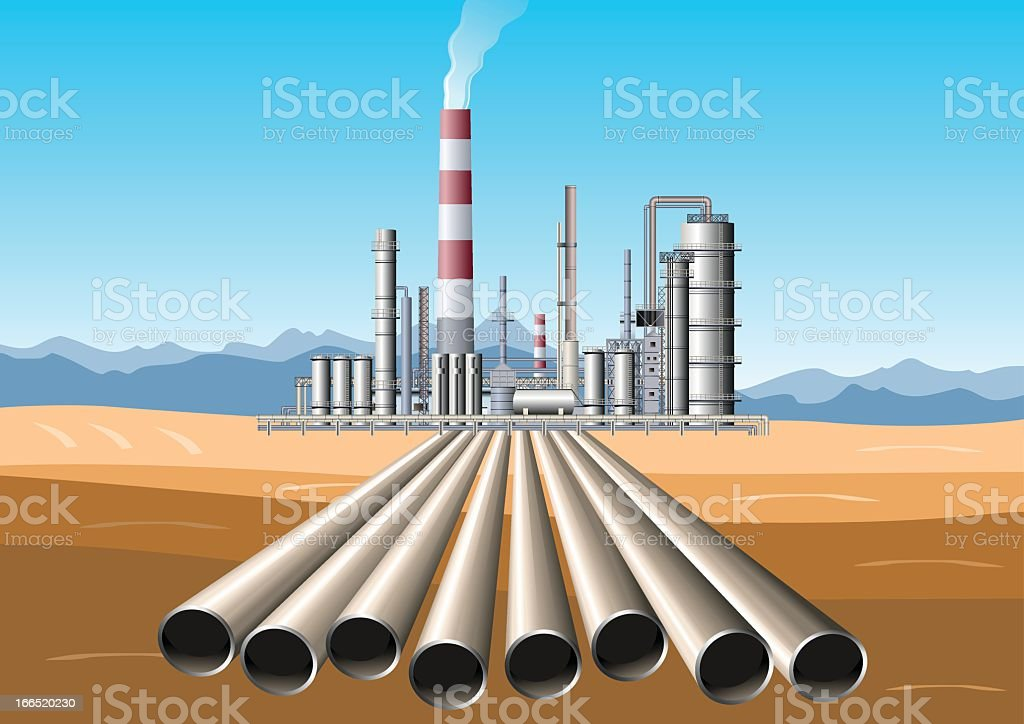 Oil Refinery Pipes vector art illustration
