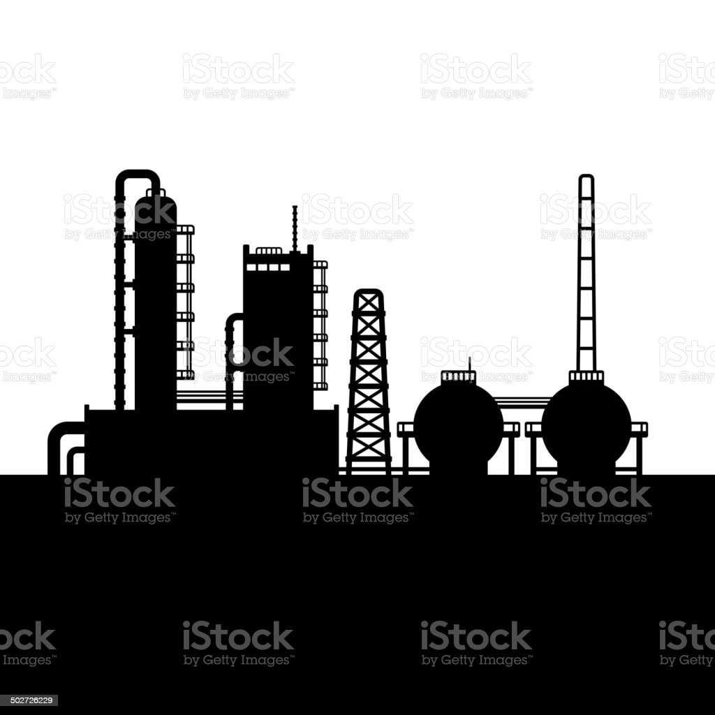 Oil Refinery Plant and Chemical Factory Silhouette 1. Vector royalty-free stock vector art