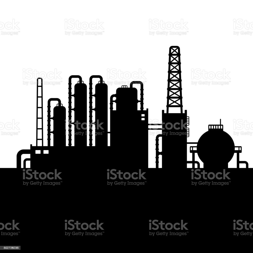 Oil Refinery Plant and Chemical Factory Silhouette 3. Vector royalty-free stock vector art