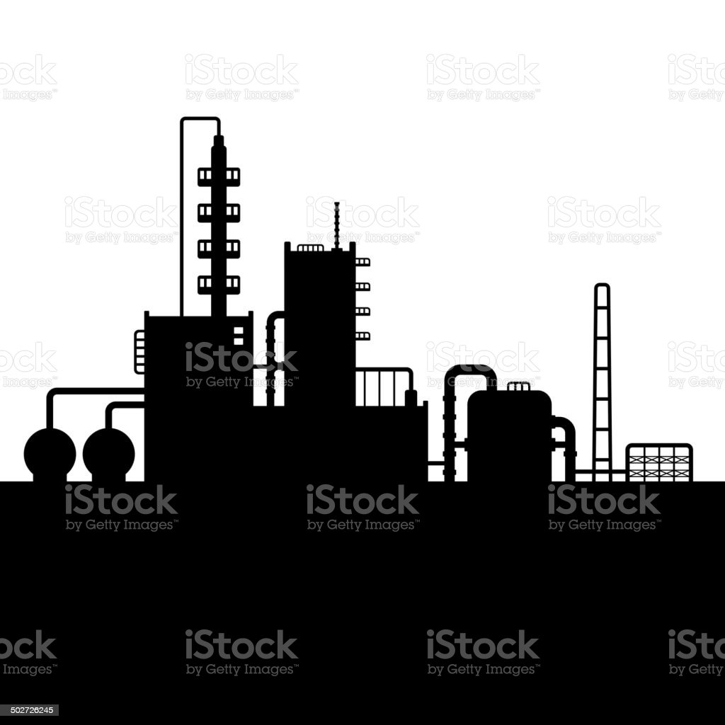 Oil Refinery Plant and Chemical Factory Silhouette 4. Vector royalty-free stock vector art