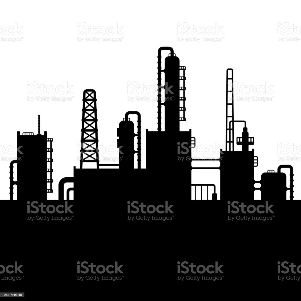 Oil Refinery Plant and Chemical Factory Silhouette 5. Vector royalty-free stock vector art
