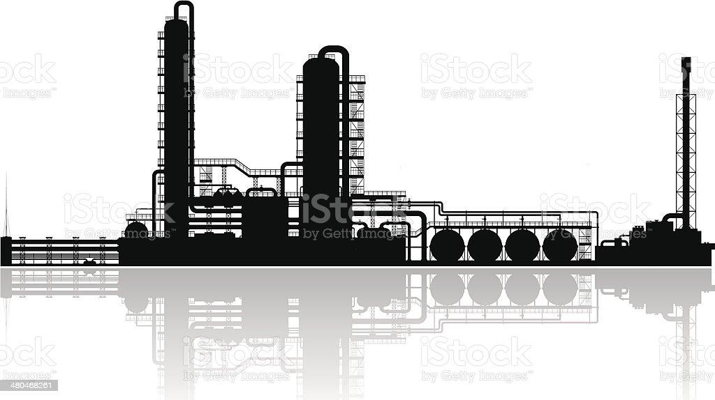 Oil refinery silhouette. vector art illustration