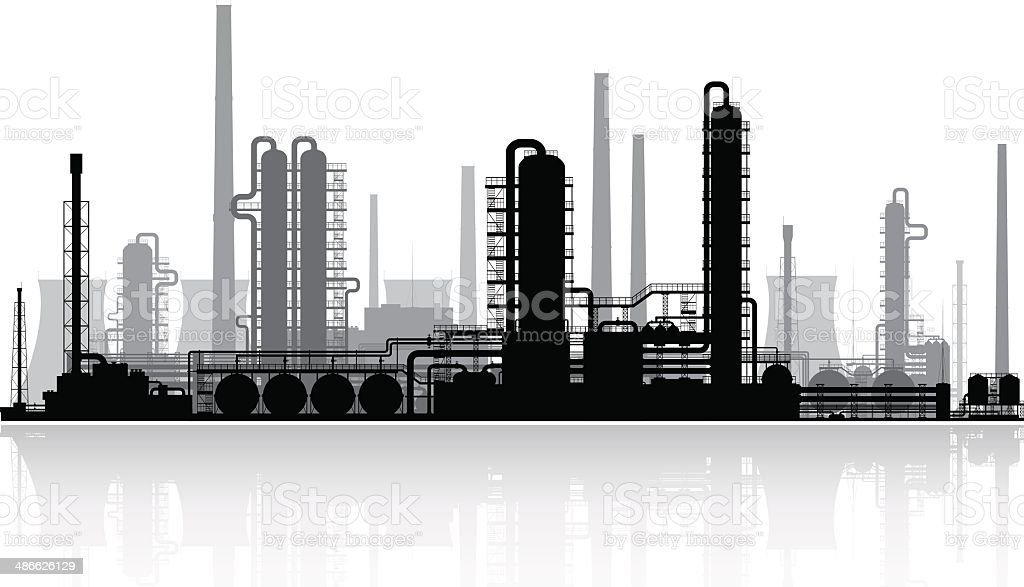 Oil refinery silhouette. Vector illustration. vector art illustration