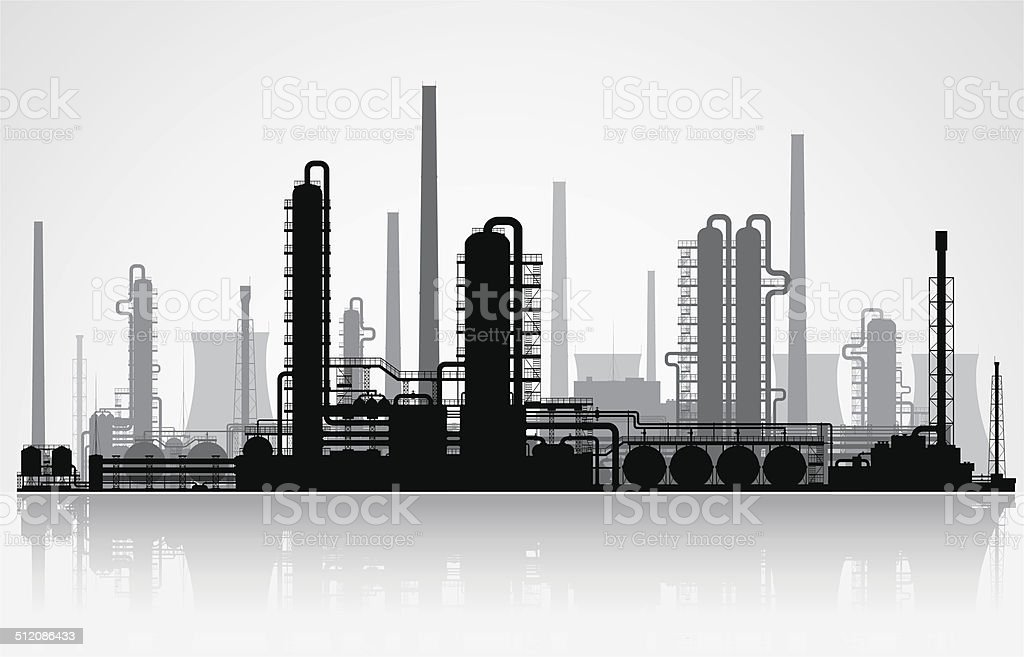 Oil refinery silhouette. Vector illustration. vector art illustration