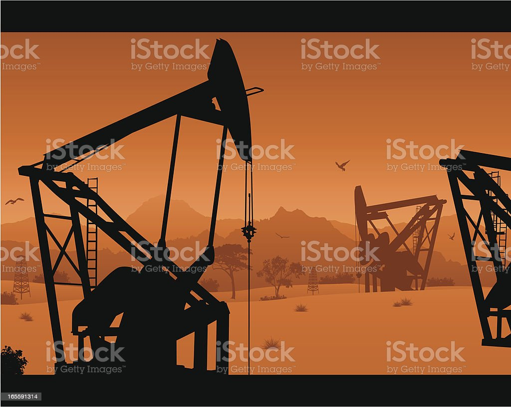 Oil Rig and Derrick Scene royalty-free stock vector art