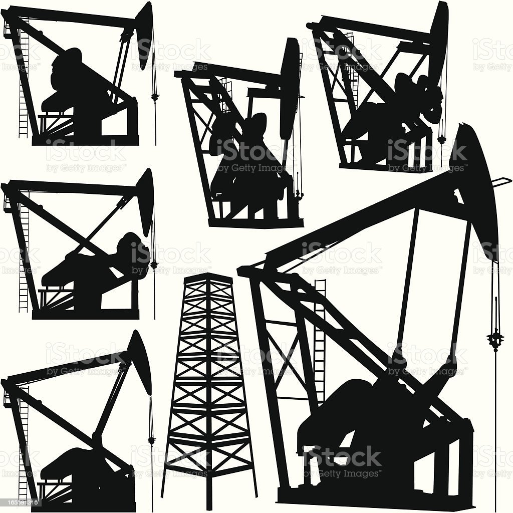 Oil Rig and Derrick Set royalty-free stock vector art