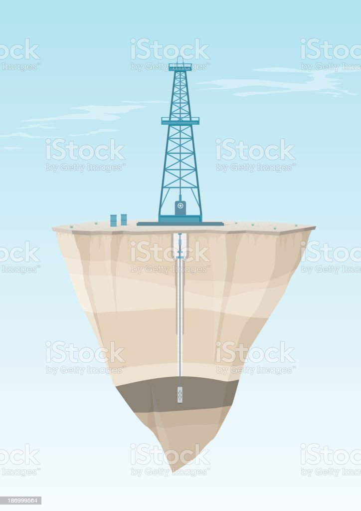 Oil Rig Cross Section vector art illustration