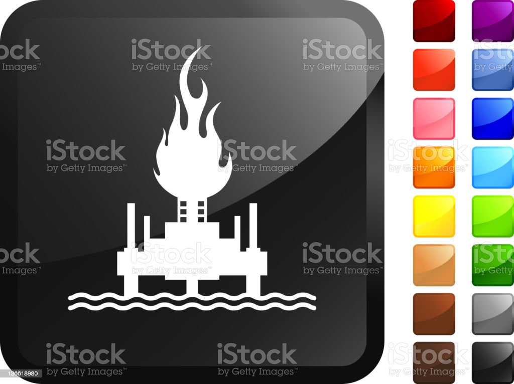 Oil rig fire computer icon sticker royalty-free stock vector art