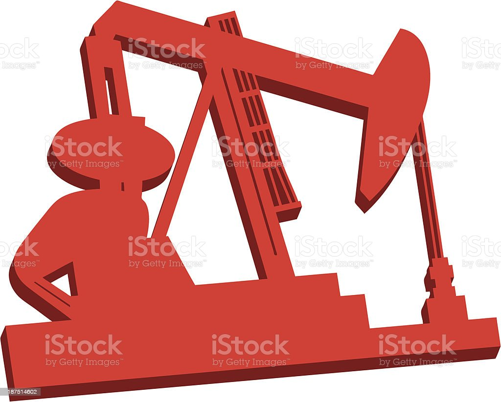 3D Oil Rig Icon royalty-free stock vector art