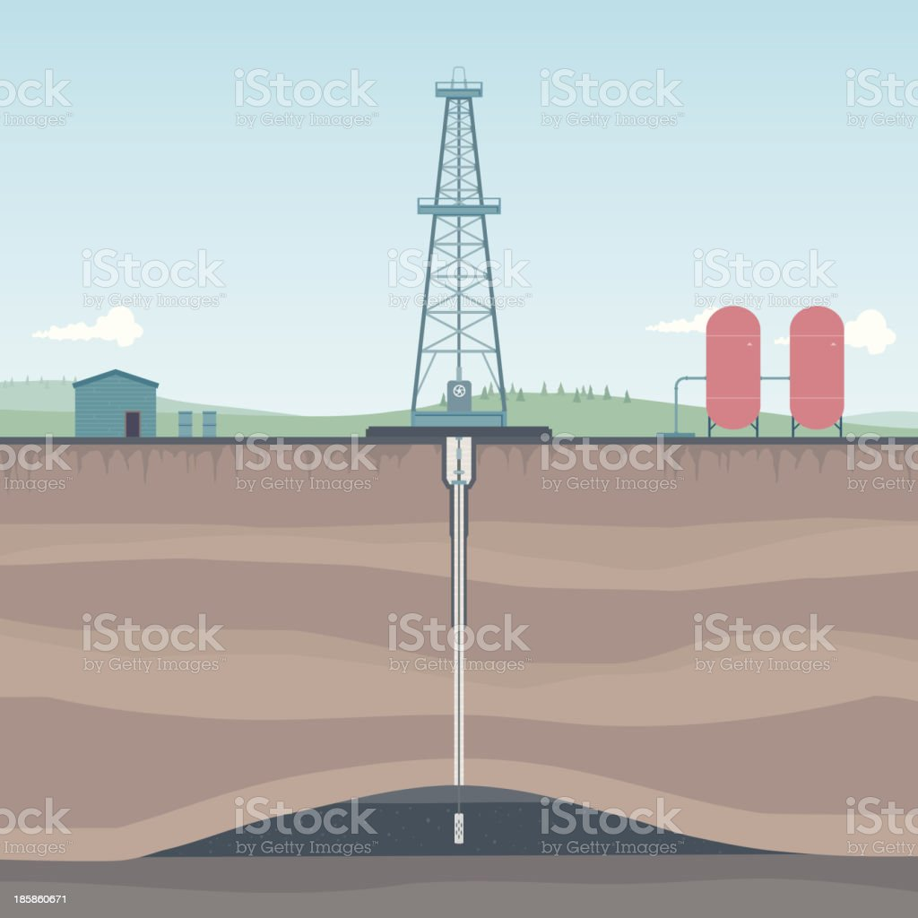 Oil Rig in Countryside Diagram vector art illustration