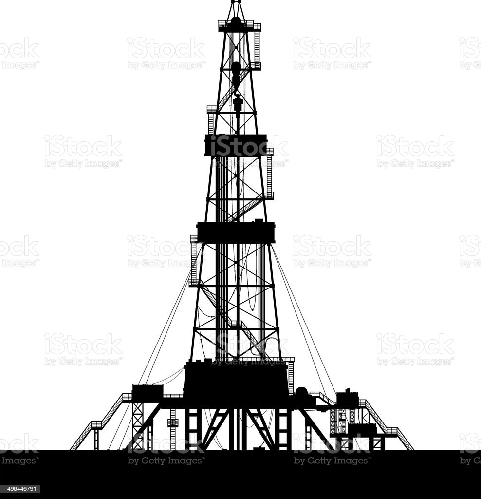Oil rig silhouette isolated on white background. vector art illustration