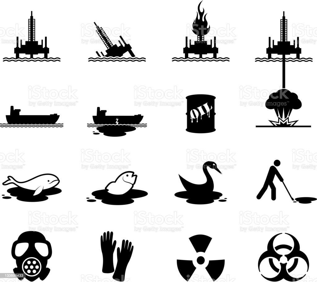 Oil spill disaster black and white icon set vector art illustration