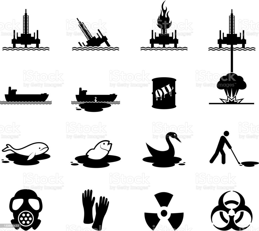 Oil spill disaster black and white vector icon set vector art illustration