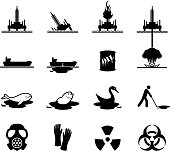 Oil spill disaster black and white vector icon set