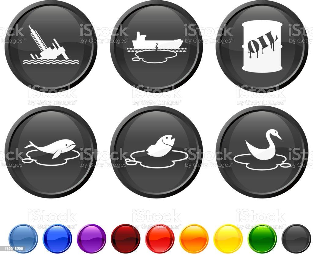 oil spill disaster icon set vector art illustration
