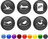 oil spill disaster royalty free vector icon set