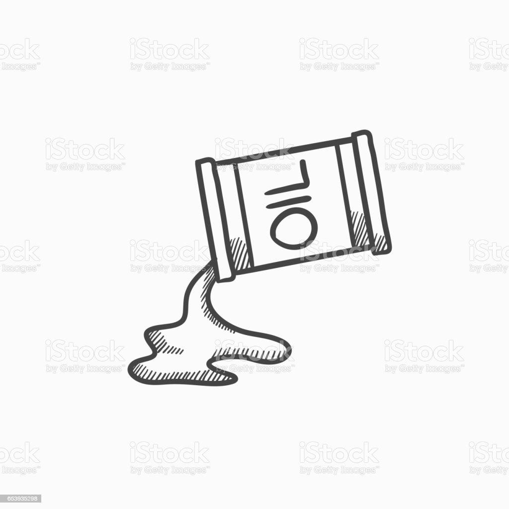 Oil spilling from barrel sketch icon vector art illustration