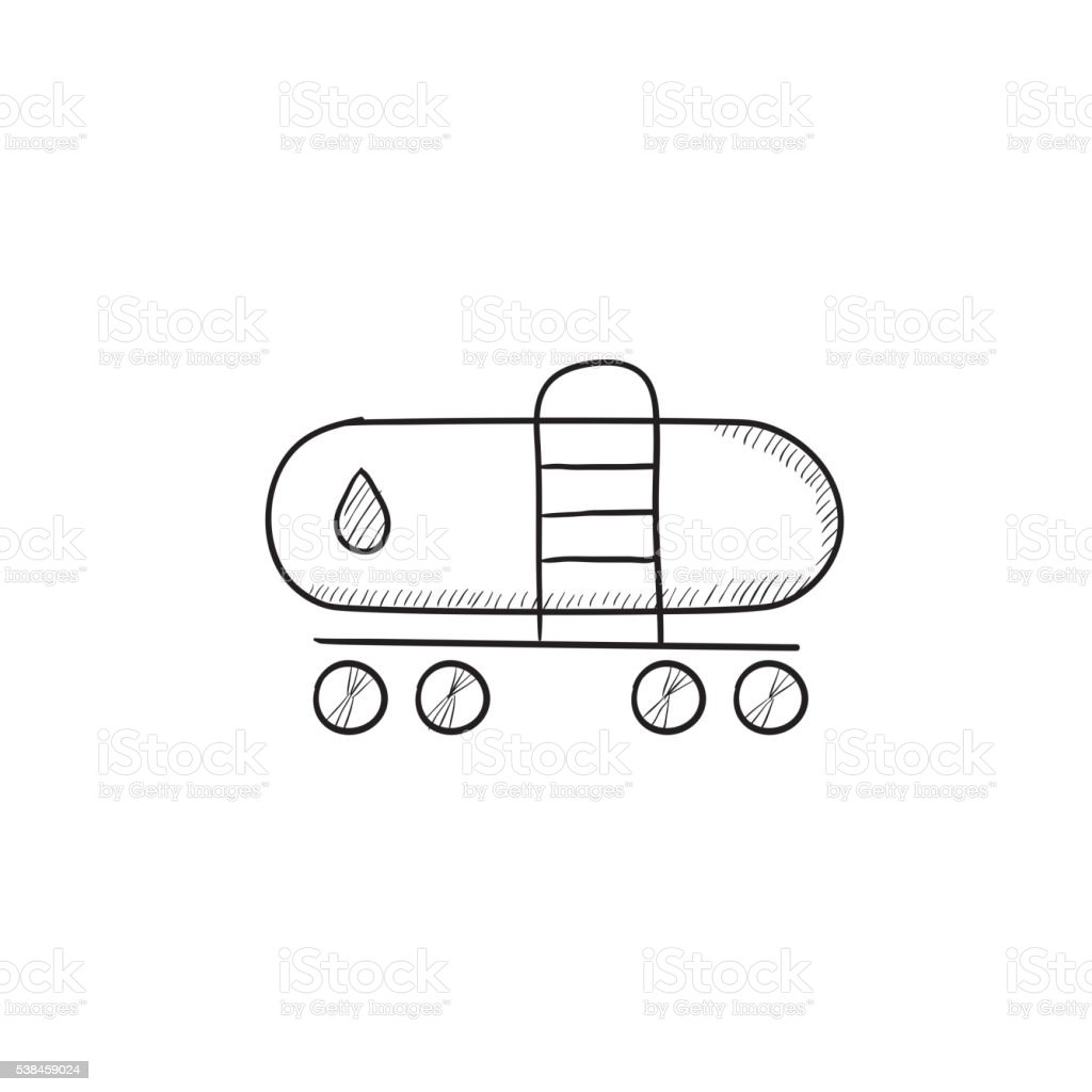 Oil tank sketch icon. vector art illustration
